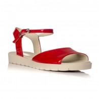 Sandale dama piele lacuita rosu Mara V2 - orice culoare
