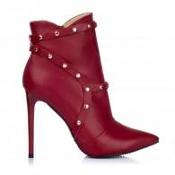 Botine Piele Rosu Stiletto Capse S4 - orice culoare