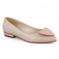 Balerini piele Nude-Roze Heart - orice culoare