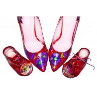 Pantofi piele naturala rosu set mama - fiica M1 - orice culoare