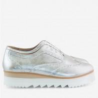 Pantofi Piele Argintiu Oxford Talpa Inalta D75 - Orice culoare