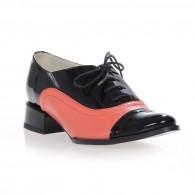 Pantofi Oxford Duo piele naturala, disponibili pe orice culoare - negru/corai