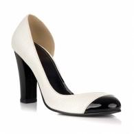 Pantofi dama piele alb negru decupat L25 - orice culoare