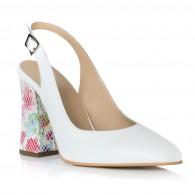 Pantofi Piele Alb Toc Color Decupat T16 - orice culoare