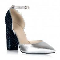 Pantofi Piele Argintiu Glitter Bleumarin S12 - orice culoare