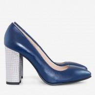 Pantofi piele naturala cu toc gros D30 - orice culoare