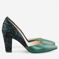 Pantofi Piele Verde Cu Toc Comod D61  - orice culoare