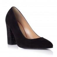 Pantofi Piele Intoarsa Negru Toc Color Bety T8 - orice culoare