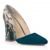 Pantofi Piele Turcoaz Imprimeu Sarpe E3 - orice culoare
