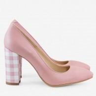 Pantofi Piele Roz Pal varf ascutit cu toc gros D17 - orice culoare