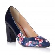 Pantofi Piele Bleumarin Floral Anne T3 - orice culoare