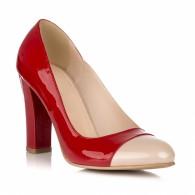 Pantofi Dama Lac Rosu Varf Nude V25 - orice culoare