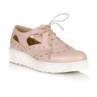Pantofi Piele Nude Oxford Decupati V17 - Orice Culoare