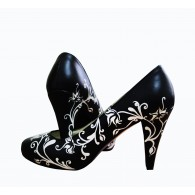 Pantofi pictati manual Black and White - orice culoare