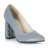 Pantofi  Piele Bleu Toc Color Helen V51 - orice culoare