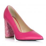 Pantofi Piele Ciclam Varf Ascutit Toc Gros T15 - Orice Culoare