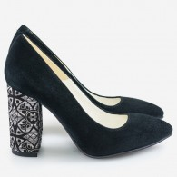 Pantofi Intoarsa Negru/Model varf ascutit cu toc gros D17 - orice culoare