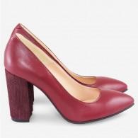 Pantofi Marsala/Toc Model varf ascutit cu toc gros D17 - orice culoare