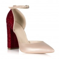 Pantofi Piele Nude Glitter Rosu S12 - orice culoare