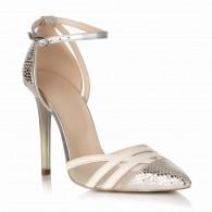 Pantofi Stiletto Piele Capucino/Argintiu S17 - orice culoare