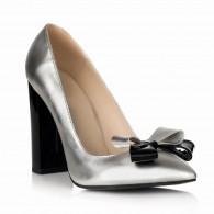 Pantofi Stiletto Toc Gros Argintiu S1 - orice culoare