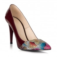Pantofi Stiletto Lac Bordo Varf Color S12- orice culoare