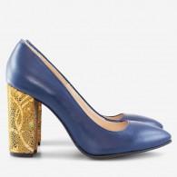 Pantofi Albastru/Auriu varf ascutit cu toc gros D17 - orice culoare