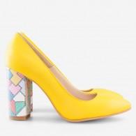 Pantofi Galben/Multicolor varf ascutit cu toc gros D17 - orice culoare