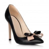 Pantofi Stiletto Piele Negru/Nude cu Funda S18 - orice culoare