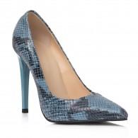 Pantofi Stiletto Piele Bleu Imprimeu Sarpe C48 - orice culoare