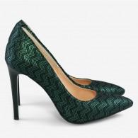 Pantofi Stiletto Piele Verde cu Negru Metalizat D19 - orice culoare