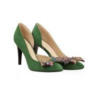 Pantofi  Piele Intoarsa Verde Funda Color N30- orice culoare