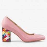 Pantofi Dama Piele Nude/Toc Multicolor D50 - orice culoare
