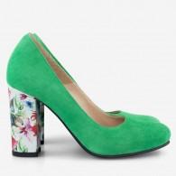 Pantofi Dama Piele Verde/Floral Fabiola D12 - Orice Culoare