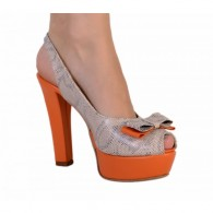 Sandale piele naturala Lara, gri orange - pe stoc