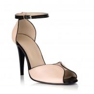 Sandale Piele Nude cu Negru S12 - orice culoare