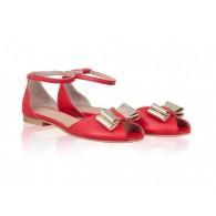 Sandale Piele Talpa Joasa Rosu Joy N11 - orice culoare