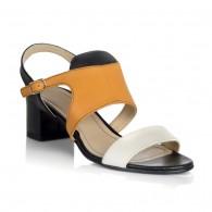 Sandale dama piele negru cu galben Julia V15 - Orice culoare