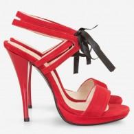 Sandale Piele Intoarsa Rosu cu Siret D18 - orice culoare