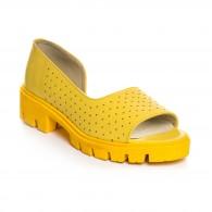Sandale Dama  Piele  Galben Perforat V11 -  Orice Culoare