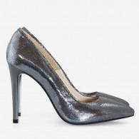 Pantofi Stiletto Piele Argintiu D40 - Orice Culoare