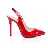 Pantofi Stiletto decupat piele lacuita rosu - orice culoare