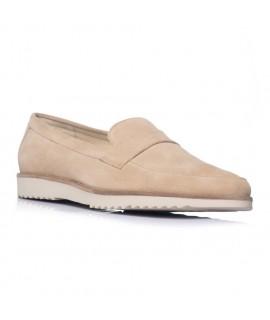 Pantofi barbati mocasini piele intoarsa bej - orice culoare
