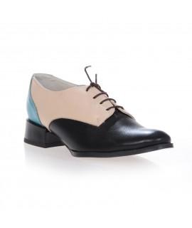 Pantofi Oxford Combi piele naturala - bleu/bej/negru - pe stoc