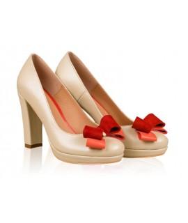 Pantofi mireasa N13 cu fundita rosie - orice culoare