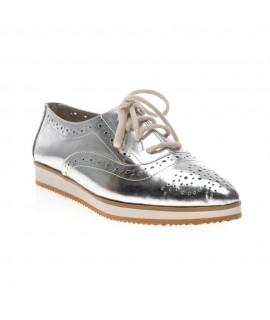 Pantofi piele Oxford Varf ascutit Argintiu V2  - orice culoare