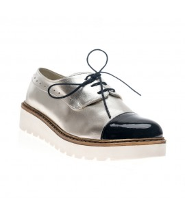 Pantofi piele Oxford Moni Argintiu  - orice culoare