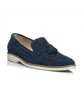 Pantofi piele intoarsa barbati mocasini albastru